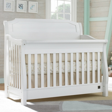 Kathy Ireland Pennsylvania Sleigh Crib in Classic White by La Jobi - Click to enlarge