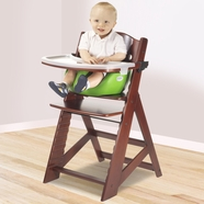 Keekaroo Height Right High Chair with Infant Insert & Tray in Mahogany and Lime