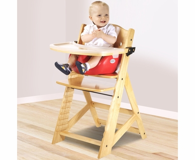 Keekaroo Height Right High Chair with Infant Insert & Tray in Natural and Cherry