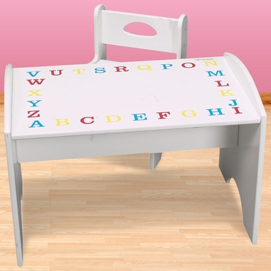 Kids ABC Study Table & Chair Set - Primary Colors.White - FREE SHIPPING