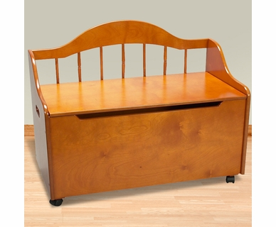 Kid's Korner Deacon's Bench / Toy Chest on Casters in Honey