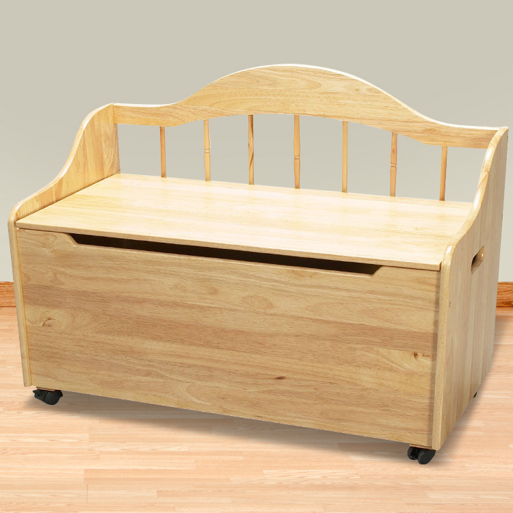 Kids Deacon S Bench Toy Chest On Casters Natural Free Shipping