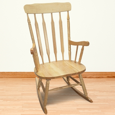 Deluxe Adult Spindle Rocking Chair Natural Free Shipping