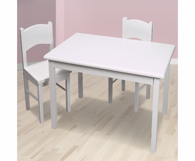 Kid's Korner Rectangle Table and Two Chair Set in White