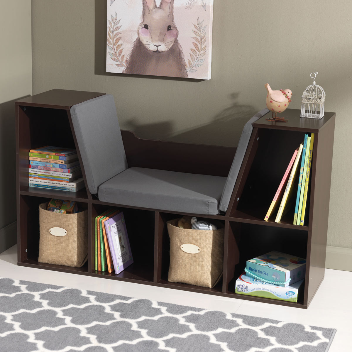 Kidkraft Bookcase With Reading Nook In Espresso