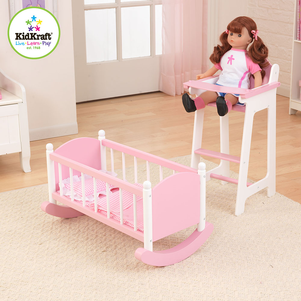 Kidkraft Darling Doll High Chair And Cradle Furniture Set In Pink Free