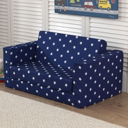 Kidkraft Lil' Lounger wtih Fold-Out Bottom in Navy with White Stars