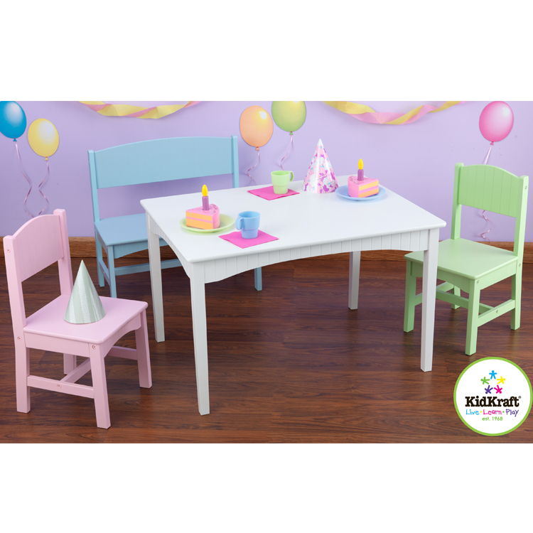 Kidkraft Nantucket Table With Bench And Two Chairs In Pastel
