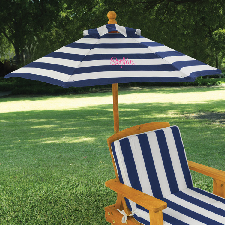 Kidkraft Outdoor Chaise With Umbrella In Navy Stripe Fabric Free