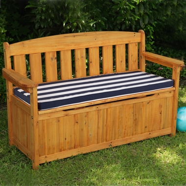 Kidkraft Outdoor Storage Bench With Navy Stripe Cushion
