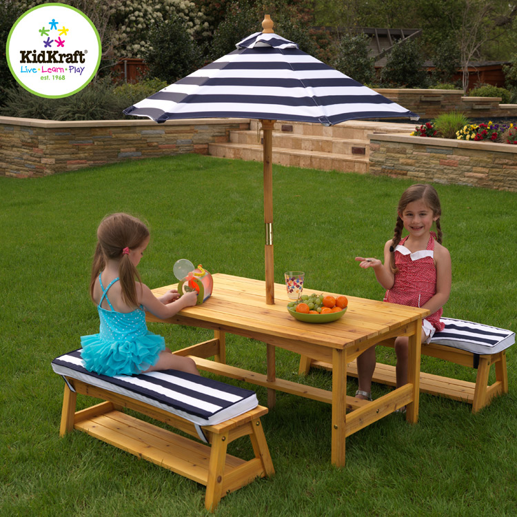KidKraft Outdoor Table & Chair Set with Navy Stripe Cushions FREE SHIPPING - KidKraft Outdoor Table & Chair Set With Navy Stripe Cushions FREE