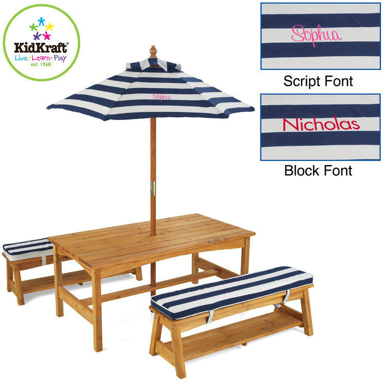 KidKraft Outdoor Table U0026 Chair Set With Navy Stripe Cushions FREE SHIPPING