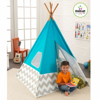 Kidkraft Play TeePee in Turquoise w/ Gray & White Chevron - Click to enlarge