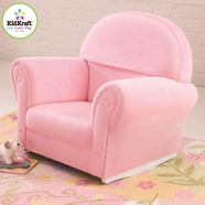 KidKraft Upholstered Rocker with Slip Cover in Pink Velour