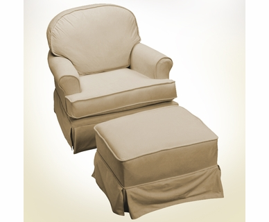 Komfy Kings Round Back Glider in Tan Chenille