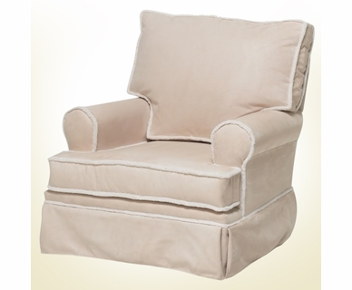 Komfy Kings Square Back Glider in Beige Microfiber
