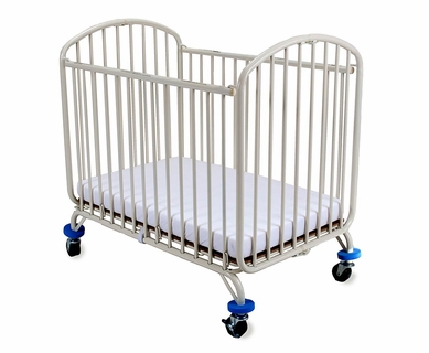 LA Baby Arched Compact Metal Crib in White