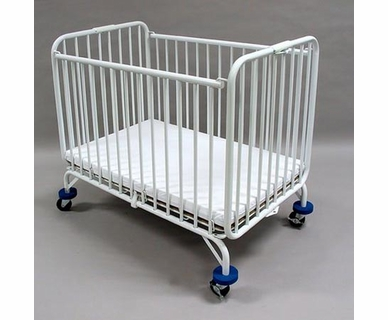 LA Baby Folding Metal Crib in White