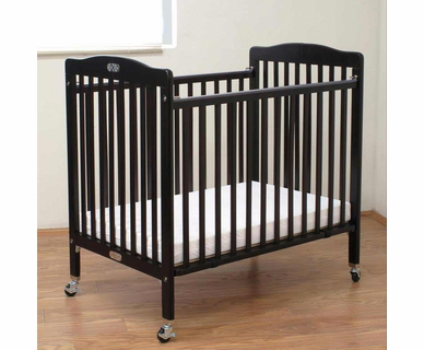 LA Baby Wood Folding Portable Crib in Espresso