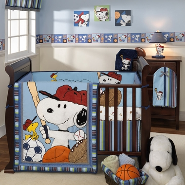 Lambs & Ivy Team Snoopy 4 Piece Crib Bedding Set