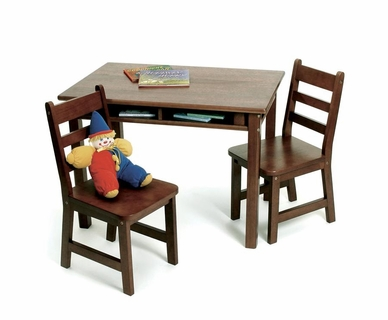 Lipper Child's Rectangle Table with Shelves and 2 Chairs in Walnut