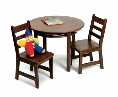 Lipper Child's Round Table & 2 Chairs in Walnut