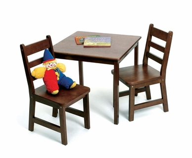 Lipper Child's Square Table & 2 Chairs Set in Walnut