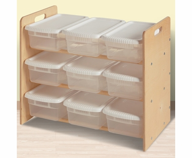 Little Colorado Nine Bin Toy Organizer in Natural Lacquer