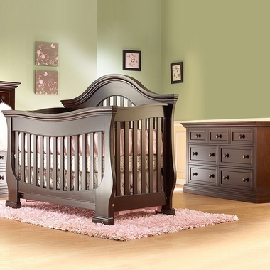 Lusso Century 2 Piece Nursery Set 4 In 1 Crib With Mini Rail And Double