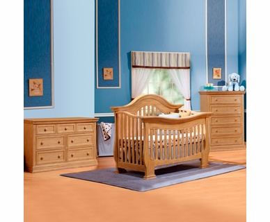 Lusso Century 3 Piece Nursery Set - 4 in 1 Crib with Mini Rail, 5 Drawer Dresser and Double Dresser in Frost