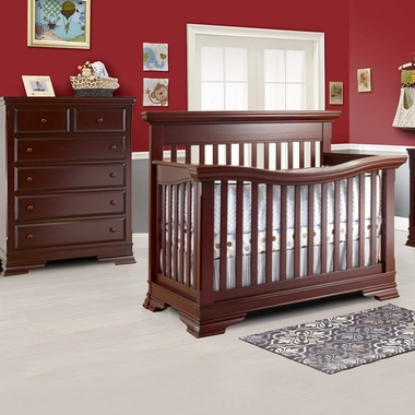 Lusso Manchester 2 Piece Nursery Set Crib With Mini Rail And 5 Drawer Dresser In