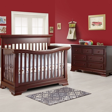 Lusso Manchester 2 Piece Nursery Set Crib With Mini Rail And Double Dresser In Merlot