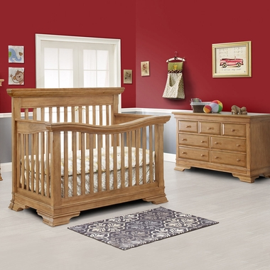 Lusso Manchester 2 Piece Nursery Set Crib With Mini Rail And Double Dresser In Vintage