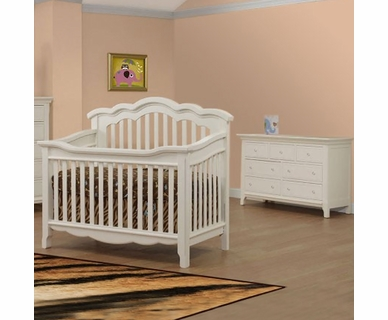Lusso Ravenna 2 Piece Nursery Set - Crib with Toddler Rail and Double Dresser in French White