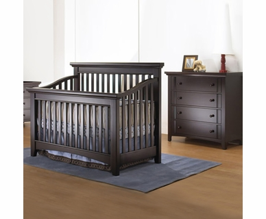 Lusso Seville 2 Piece Nursery Set - 4 in 1 crib with Mini Rail and 4 Drawer Chest in Espresso