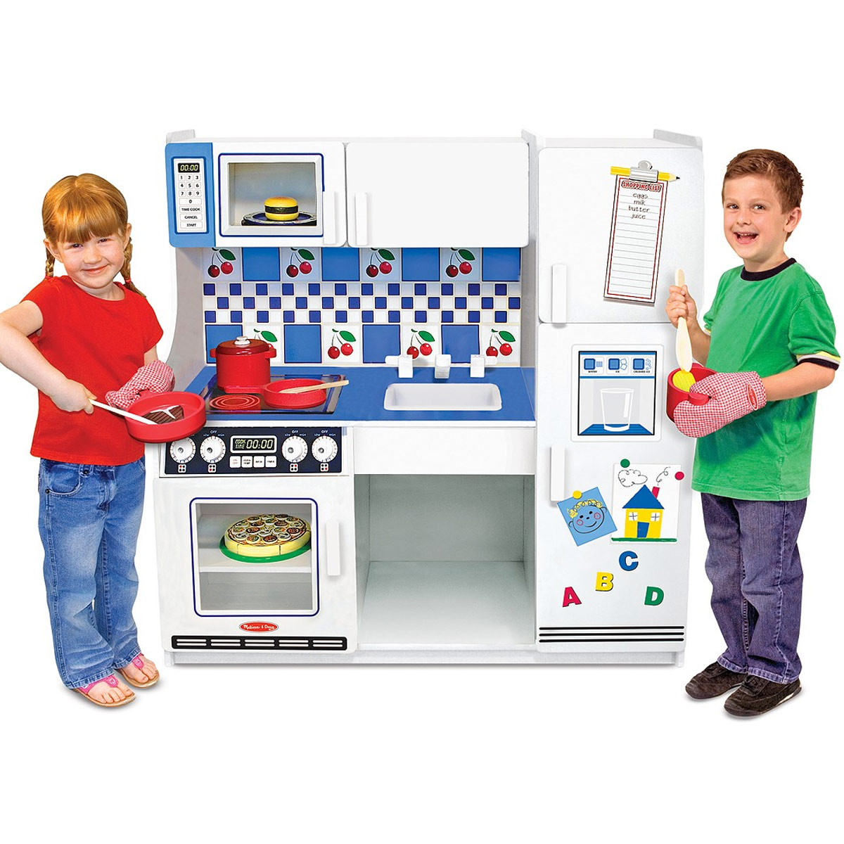 Melissa & Doug Deluxe Large Wooden Kitchen in Blue and White FREE ...