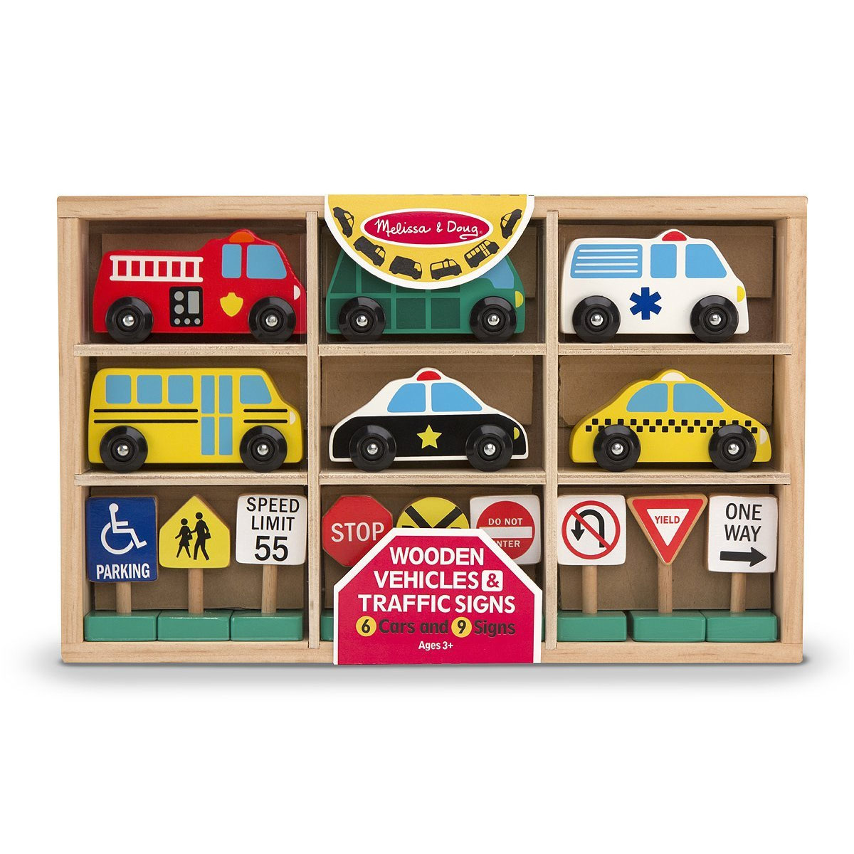 Melissa & Doug Wooden Vehicles and Traffic Signs For Train Table ...