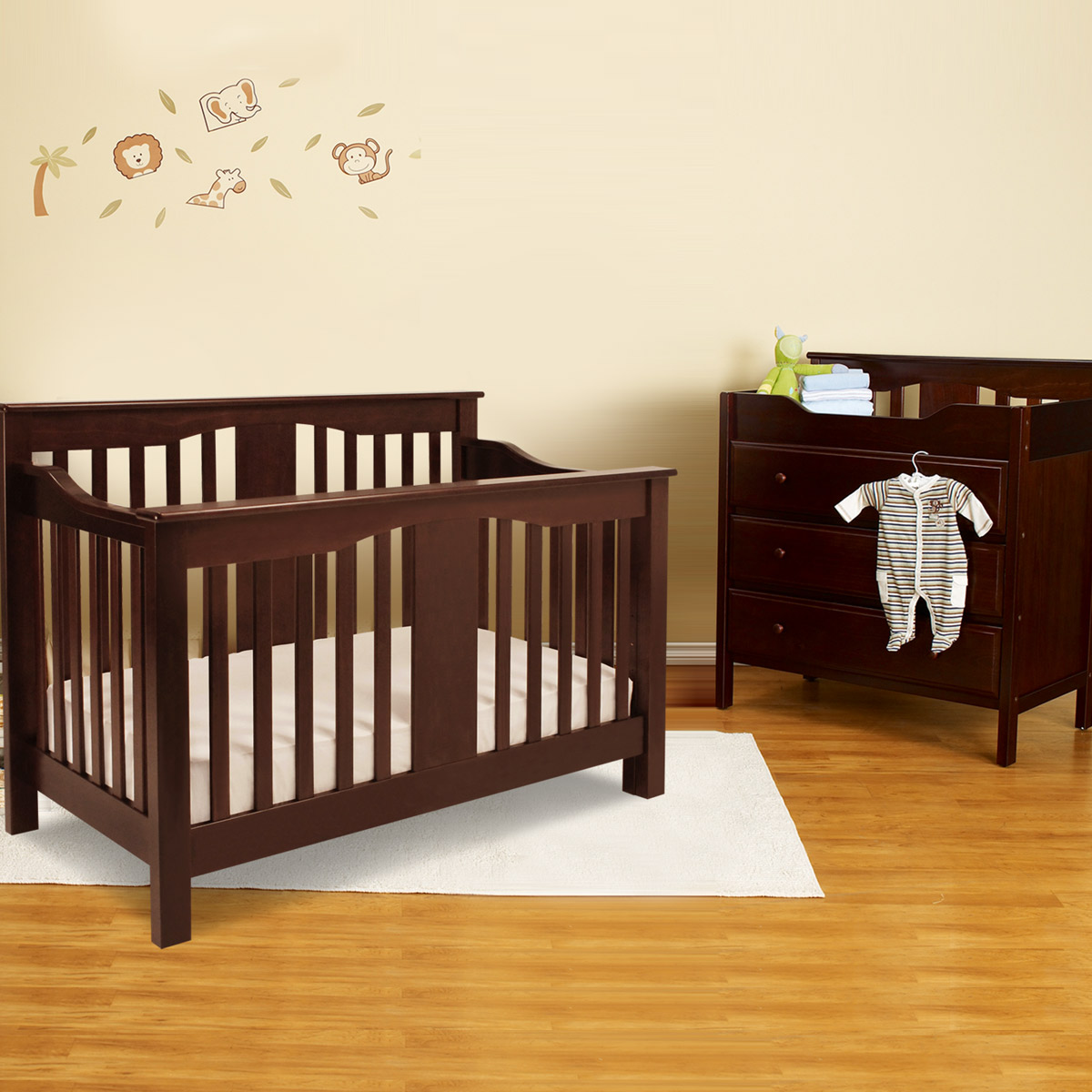 Million Dollar Baby 2 Piece Nursery Set Annabelle 4 In 1 Convertible Crib And Davinci Jayden 3 Drawer Changer Espresso Free