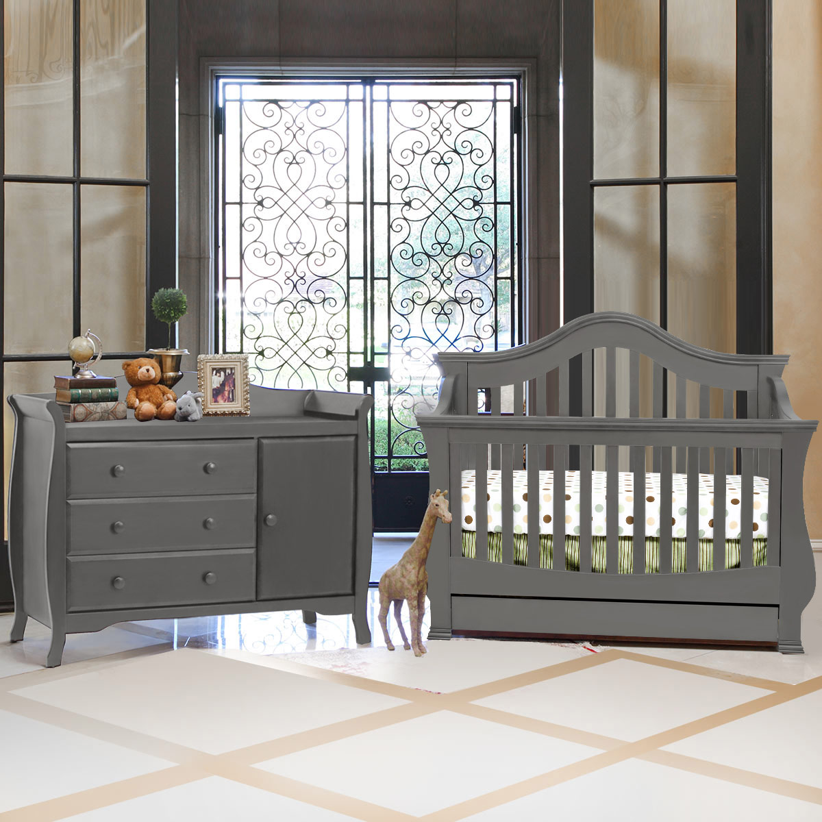 Lovely Million Dollar Baby 2 Piece Nursery Set   Ashbury 4 In 1 Sleigh Convertible  Crib And Combo Dresser In Manor Grey FREE SHIPPING