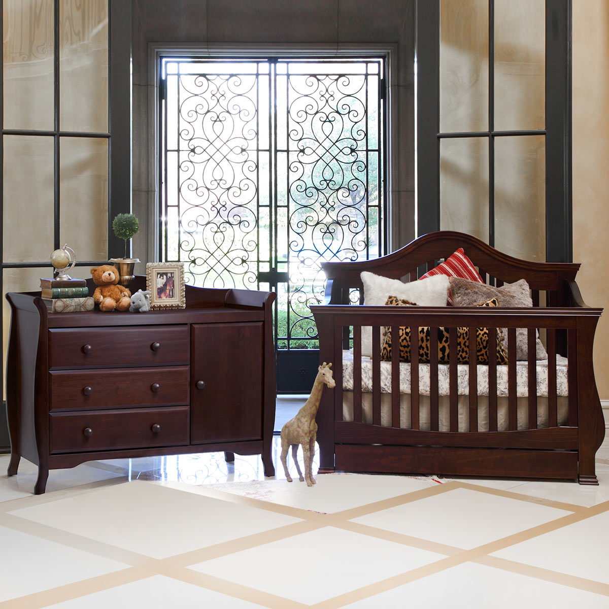 Million Dollar Baby 2 Piece Nursery Set Ashbury 4 In 1 Sleigh Convertible Crib And Combo Dresser Espresso