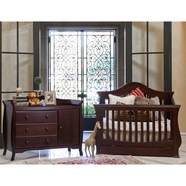 Million Dollar Baby 2 Piece Nursery Set - Ashbury 4-in-1 Sleigh Convertible Crib and Combo Dresser in Espresso