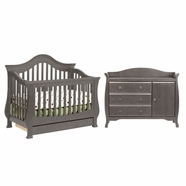 Million Dollar Baby 2 Piece Nursery Set - Ashbury 4-in-1 Sleigh Convertible Crib and Combo Dresser in Manor Grey