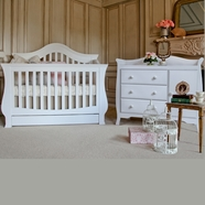 Million Dollar Baby 2 Piece Nursery Set - Ashbury 4-in-1 Sleigh Convertible Crib and Combo Dresser in White
