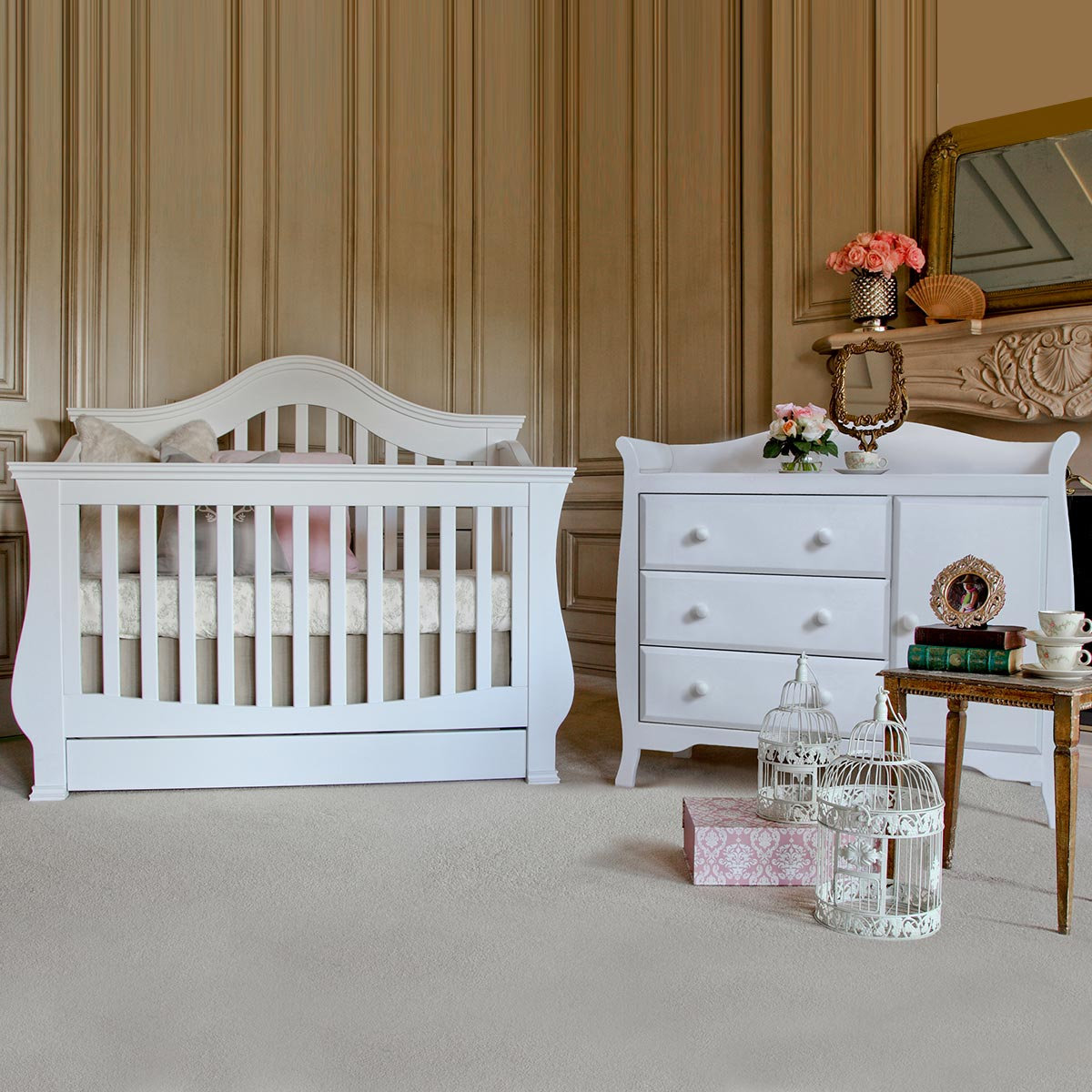 million dollar baby 2 piece nursery set ashbury 4in1 sleigh convertible crib and combo dresser in white free shipping - White Baby Crib