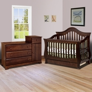 Million Dollar Baby 2 Piece Nursery Set - Ashbury Convertible Crib and Kalani Combo Dresser / Changer in Espresso