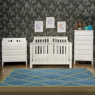 Million Dollar Baby 3 Piece Nursery Set - Annabelle 4-in-1 Convertible Crib, DaVinci Jayden 3 Drawer Changer and Jayden 6 Drawer Dresser in White