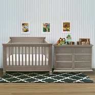 Million Dollar Baby 3 Piece Nursery Set - Foothill 4-in-1 Convertible Crib, 6 Drawer Dresser and Full Bed Conversion Kit in Weathered Grey