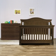 Million Dollar Baby 3 Piece Nursery Set - Louis 4-in-1 Convertible Crib, 3 Drawer Changer Dresser and Full Bed Conversion Kit in Espresso