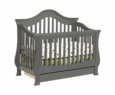 Million Dollar Baby Ashbury 4-in-1 Sleigh Convertible Crib with Toddler Rail in Manor Grey