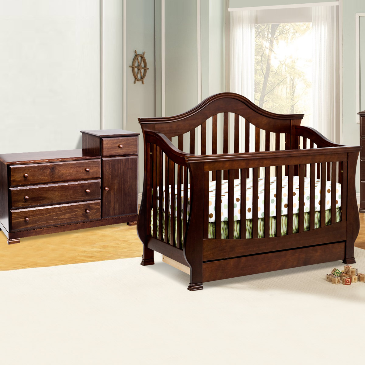 Million Dollar Baby Classic 2 Piece Nursery Set Ashbury Convertible Crib And Kalani Combo Dresser Changer In Espresso Free
